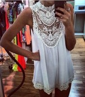 Cheap 2014 Hot Sale women summer spring clothing women Casual Embroidered Dress Sexy Sleeveless Crochet Lace White Chiffon Lace Dress