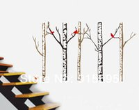 american birch - Set Large Birch Tree Birds Waterproof Vinyl Wall Decal Sticker For TV Sofa Background Home Decor Wall Poster