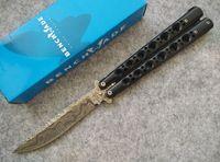 acid aluminum - Benchm ade BM42 Fake Damascus Balisong C steel Acid etched Folding blade Tactical knife knives with Nylon sheath and retail box