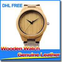 wood watches wholesale - Classic Bamboo Wooden Watch japanese miyota movement wristwatches genuine leather bamboo wood watches for men women gift box