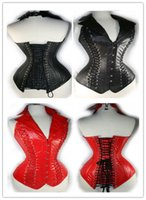 neck corset leather - Leather Lingerie Sexy Corsets For Women Vest Leather Corset Clothing V Neck G string Erotic Lace Up Front Buckle Closure Red Black C8376