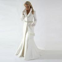 beaded satin fabric - 2015 Chapel Train Winter Bridal Cloak Jacket Long Sleeves Fur Wedding coat Cute Shawl Coat Bolero Satin Fabric With Faux Fur Sequin Beaded
