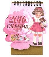 Wholesale Korea Doll Girl series calendar desk planner Kawaii table calendars calendario calendrier Office School Supplies