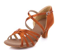Wholesale Women Latin shoes GB practice shoes dance shoes soft bottom adult bronze in the rough with size
