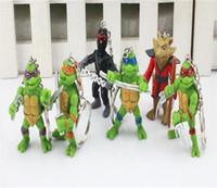 Wholesale Teenage Mutant Ninja Turtles TMNT key chain key ring action Figures PVC toys Plastic dolls birthday Christmas gift set