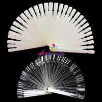 Wholesale 50 False Display Nail Art Fan Wheel Polish Practice Tip Sticks Nature Clear White