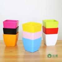 Not Coated Nursery Pots - Gardening Mini Plastic Pots Vase With Tray Square Flower Bonsai Planter Nursery Pots