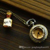 Wholesale HOT SALE Alice in Wonderland DRINK ME Bottle Necklace with Retro Pocket Watch