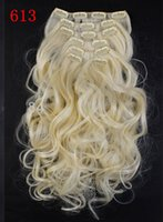 Wholesale 22ines long curly synthetic clip in hair extension pieces set sets hot selling iron safe