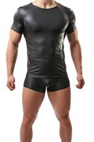Wholesale Men s sexy elastic tight imitation leather fashion T shirt coat comfortable sportswear underwear C32 black C