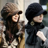 Wholesale 2014 New Arrival Peaked Cap Women Hat Winter Caps Knitted Hats For Woman Twist Lady s Headwear Delicate Colors Cloth Accessory