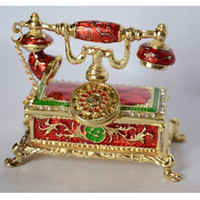 Metal antique trinket box - antique telephone design decoration trinket box rhinestone jeweled jewelry box hinged jewelry packaging display Christmas gifts