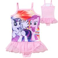Cheap My little pony big girls swimwear children one-piece Suspender tutu skirts bath suit for girl kids summer beach wear cartoon bathing suit