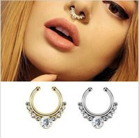 Wholesale Nose Ring Studs Colors Crystal Nose Hoop Nose Rings Body Piercing Jewelry Fake Septum Clicker Non Piercing Hanger Clip On Body Jewellry