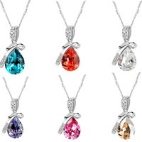 angel - Korean jewelry colorful droplets Angel Tears crystal bow necklace alloy crystal pendant necklaces for women