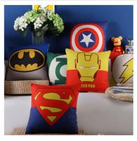 Wholesale 6 STYLES Justice League Cushion Cover Pillow Cases Pillow cover x45cm pillowcase High quality Iron Man Spiuerman Batman C1531
