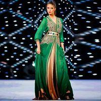 indian dress - 2015 Muslim Elegance Green Embroidery Kaftan Dubai Long Sleeve Evening Dresses Prom Ruffle Dress Abaya Islamic Indian Gown