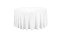 Wholesale 108 inch round polyester white table cloths very thick beautiful for wedding banquet