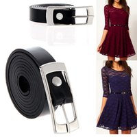 Wholesale 5pcs Fashion Women Lady Waist Belt Slender Dress Belt Waistband Buckle Thin Belt PU Leather Black