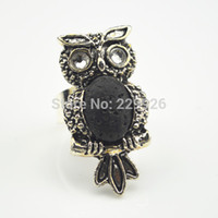 Wholesale R817 Min Order Volcano Stone Adjustbale Ring Black Lava Rock Owl Vintage Look Antique Silver Plated Free Size Finger Ring