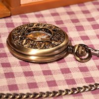 antique magnifiers - Magnifier Glass Skeleton Roman Numberls Men Hand Winding Mechanical Pocket Watch Pendant Chinses Style Watch