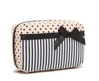 Wholesale Special Purpose Bags Cosmetic Bags Cases HOT SALE Nylon Small Cosmetic Bags with Striped and Dotted Pattern and Bow Small