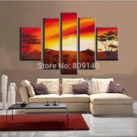 african elephant artwork - Stretched African Landscape oil painting canvas Sunset Elephants Artwork handmade Modern home office hotel wall decor decoration free ship