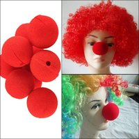 adult circus costumes - 2015 Red Sponge Foam Ball Clip Circus Clown Nose Comic Halloween Costume Party Magic Dress EMS