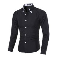 Wholesale Men s Fashion Casual Long Sleeve Shirt Slim Fit Man clothing Tops Cotton Lapel Solid Color Black and White M XXL