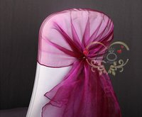 Wholesale High Quality Red Organza Chair Cover Sash Cap for Wedding Christmas Banquet Event Decoration
