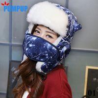 aviator scarves - Winter Warm Earflap Female Bomber Hats Caps Scarf Women Russian Trapper Hat Aviator Trooper Earflap Snow Ski Cap with scarves