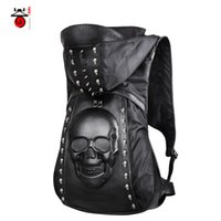 animals with two heads - 3D Skull head backpacks men s travel bags famous brand big size bag with hat black Rivet high quality backpack female