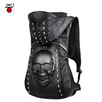 big backpack brands - 3D Skull head backpacks men s travel bags famous brand big size bag with hat black Rivet high quality backpack female