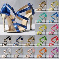 crocodile skin - Women s Micro Crocodile Skin Sandals shoes Open Toe Ankle Straps High Heels Summer BRIDAL PATENT LEATHER Party Shoes colors avalaibl