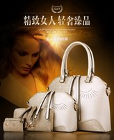 Wholesale 2016 New Designer Women Set Fashion Bags Ladies Handbag Sets Leather Shoulder Office Tote Bag Cheap Womens Shell Handbags Sale Hand bag