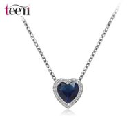 Wholesale Teemi Brand New Delicate Cute Heart Pendant Necklace Rhodium Plated Micro Inlay Cubic Zircon Bridal Wedding Jewelry for Women Gift