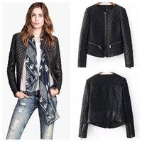 women black short leather jacket - New Women Faux Leather Slim Jacket Gird Grew Neck Short Zipper Design Warm Black Color Coats Outwear