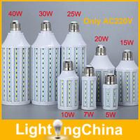 Wholesale Hotsale LED Bulbs AC220V W W W W W W W W W Epistar SMD5730 E27 LED Corn Lamp Bulb Warm White Cool White Year Warranty