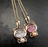 Wholesale Best price necklace Plating Super Cute Lucky cat Opal Cat Jewelry