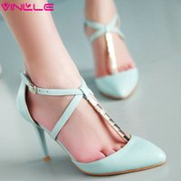 Cheap VINLLE 2015 Sexy cross strap pumps pointed toe women shoes nice rhinestone dress shoes ladies wedding party shoes size 34-43