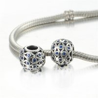 Wholesale Sterling Silver Jewelry Natural Stone Beads For Necklace Sterling Silver Beads Blue Stone DIY Beads Fine Fashion Jewelry