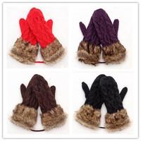Wholesale New Arrive Cute Ladies Girls Mitten Knitting Wool Fur Halter Wrist Winter Warm Gloves