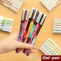 Wholesale 6 set Color Gel pen New hot Starry pattern illust Roller ball pen Stationery Gift Caneta escolar school supplies A5