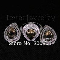 beautiful diamond rings sale - Jewelry Set Fashion Women Beautiful Solid Kt White Gold Diamond New Elegant Smoke Topaz Rings Earrings For Sale