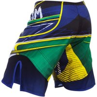 active capri pants - Man MMA Fight shorts brazil flag pattern capri pants Man shorts blue color