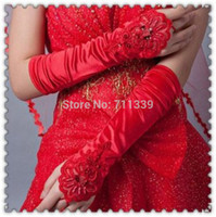 Wholesale New Long Red White Ivory Wedding Glove satin Lace Flower Beaded Sequin Opera Fingerless Bridal Gloves