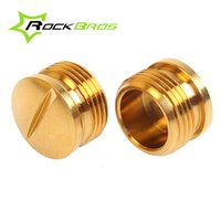 Wholesale ROCKBROS Titanium Alloy Crank Brothers Egg Beater Pedal Spindle End Cap Bicycle Accessories Ti Alloy Cap For Pedals Gold pair