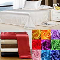 Wholesale Soft skin SATIN SILK BED SHEET PILLOWCASES WEDDING silk bedding set sheet tencel bedding set silk home textile