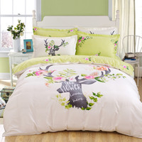 Wholesale Deer Bedding Set Lawn Green And Beige Home Textiles Plain Printed Cotton Comforter Set Queen The New Listing