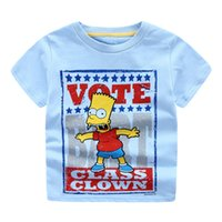 bart t shirt - Cool Brand export cartoon Bart print boy t shirt cotton Comfort Short sleeve t shirts for middle boy Summer T young tops white blue